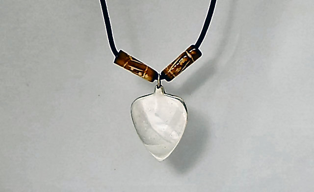 Silver Guitar Pick with Carved Bone